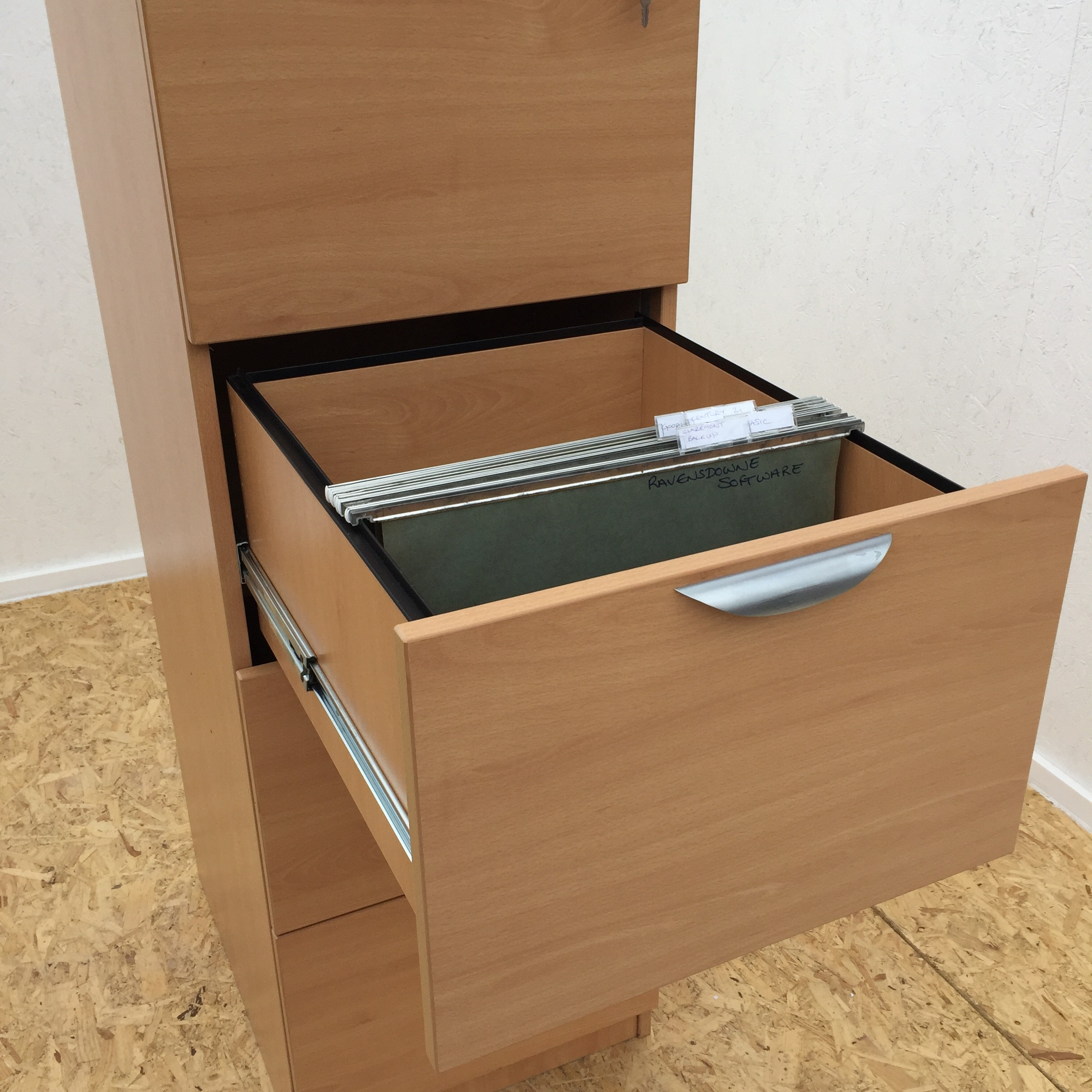 Wooden 4 Drawer Filing Cabinet Office Kit