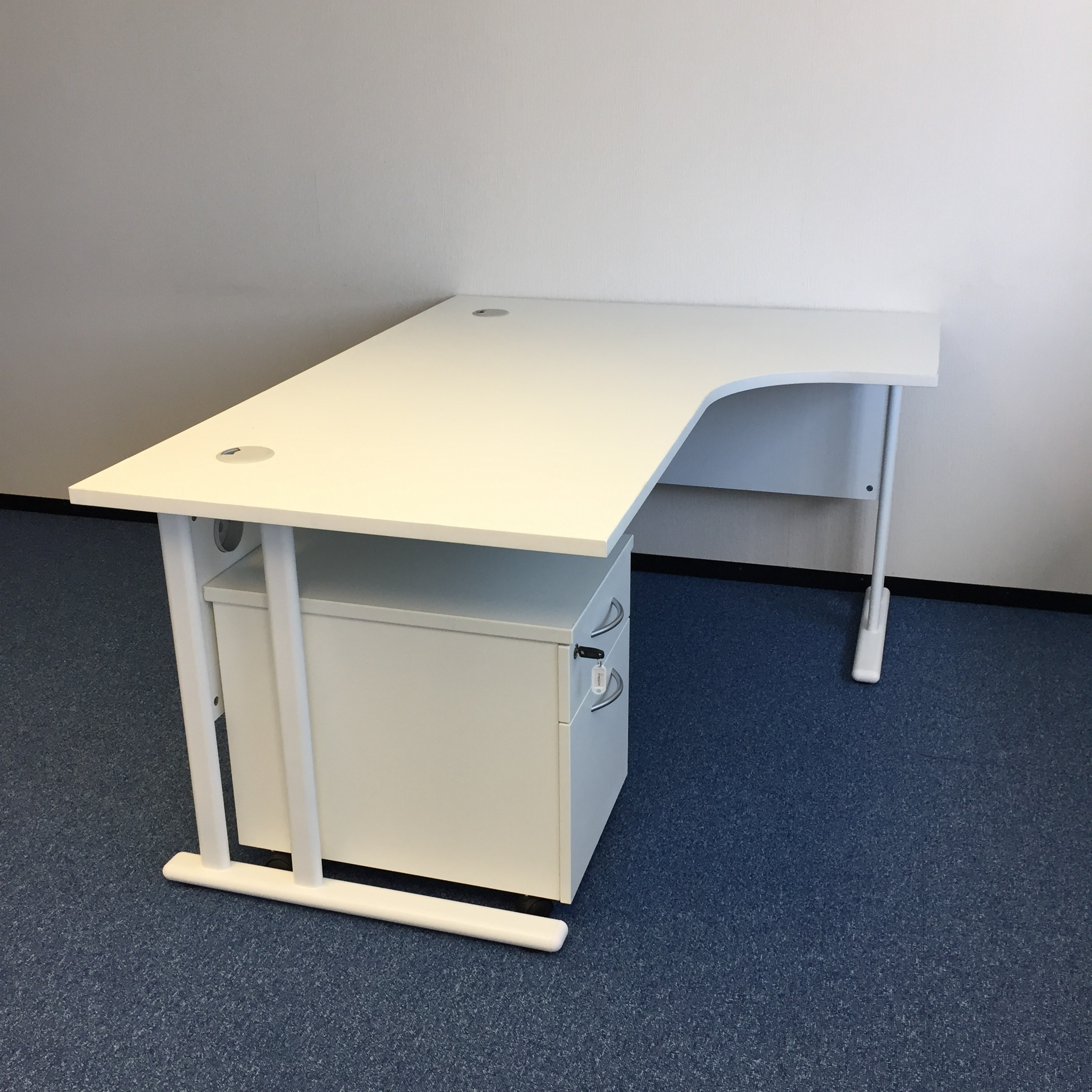 White Corner Desk With Pedestal Office Kit