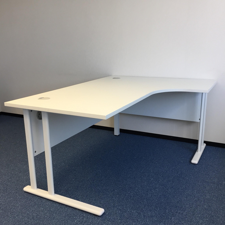 White Corner Desk With Pedestal Office Kit