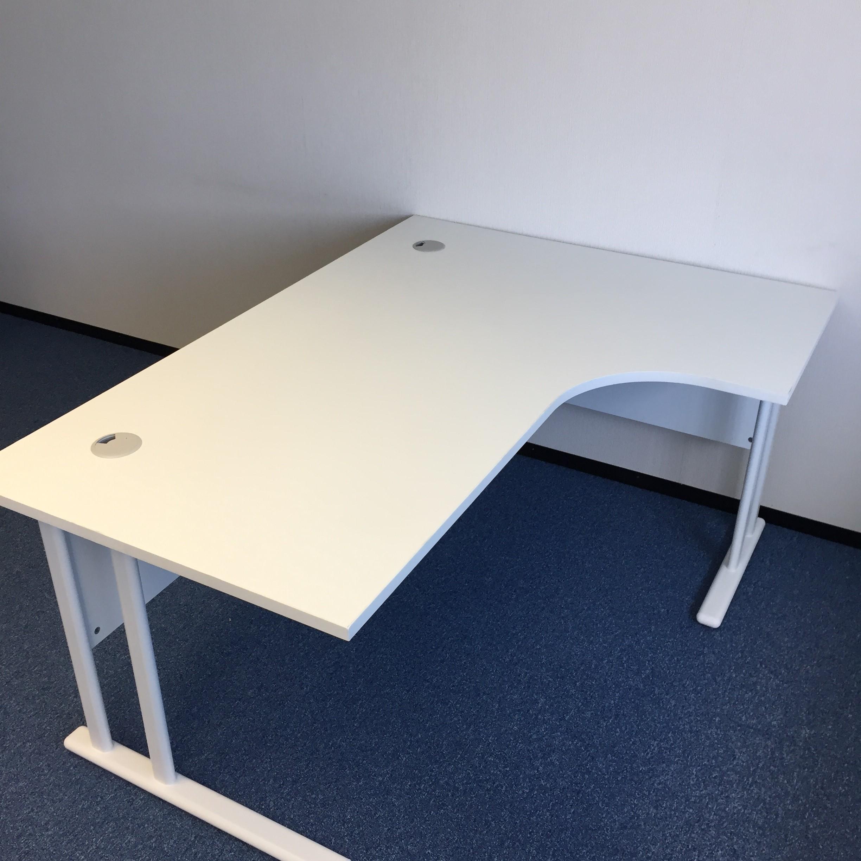 Used Desk For Sale >> White Corner Desk with Pedestal | Office Kit
